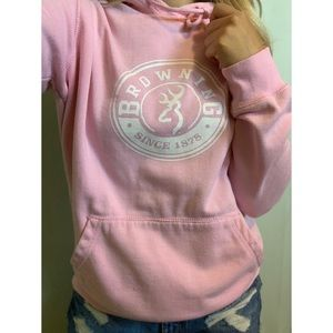 Small, Browning, baby pink &white pullover sweater